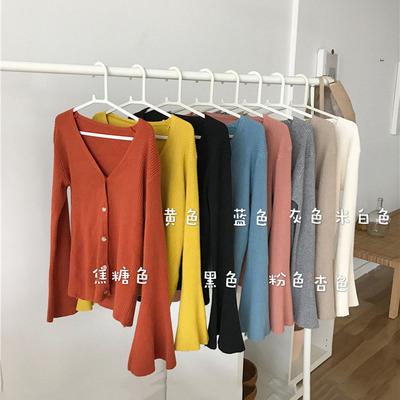 2018秋季新款韩版喇叭袖短款针织衫chic毛衣外套开衫女空调衫上衣