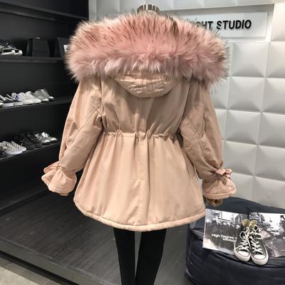 初见家!冬季新款宽松收腰大毛领连帽棉服外套女中长款羊羔毛棉衣