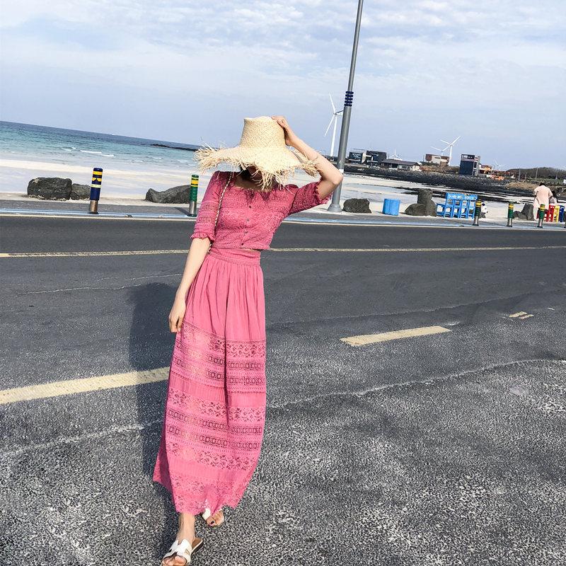 女神范两件套装显瘦气质马尔代夫普吉岛泰国三亚沙滩裙女海边度假