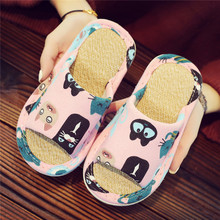 Children's Cartoon Parents and Children's Linen Fabric Art Four Seasons Summer Slippers with Slip-proof, Silent and Soft Bottom for Men and Women's Home