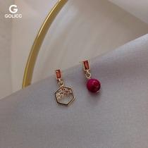 一枚红豆不对称小耳钉925银针微镶轻奢短款耳环学生上班族耳饰品
