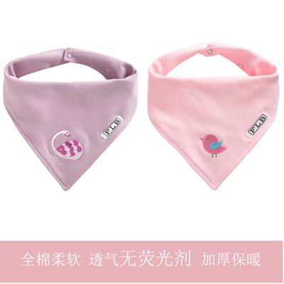 男女加厚婴儿口水巾新生儿宝宝纯棉三角巾双层按扣围嘴漂亮装饰巾