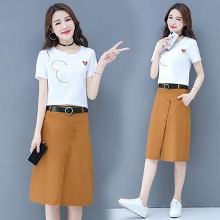 夏装2019新款流行女装矮个子休闲直筒裙子套装时尚韩版洋气两件套