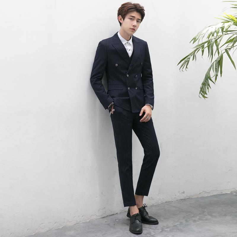 三件套 复古西服套装 男双排扣英伦修身 条纹男士 职业商务正装 西装