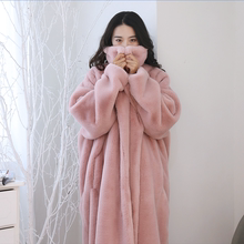 Simulated rabbit fur broad retro coat winter super-thick warm mink down and extended wool coat