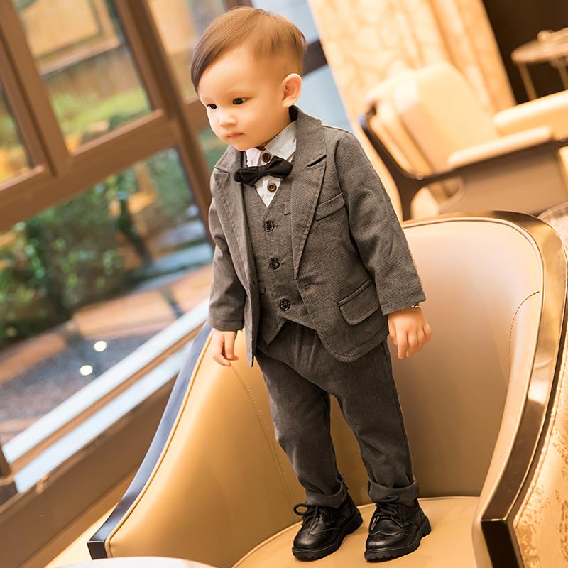 婴儿童小宝宝男童春秋冬季西装男孩一周岁花童百天套装生日礼服潮