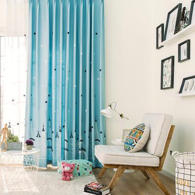 居U品简约现代保暖遮光客厅窗帘 儿童欧式小清新蓝色挂钩窗帘定制