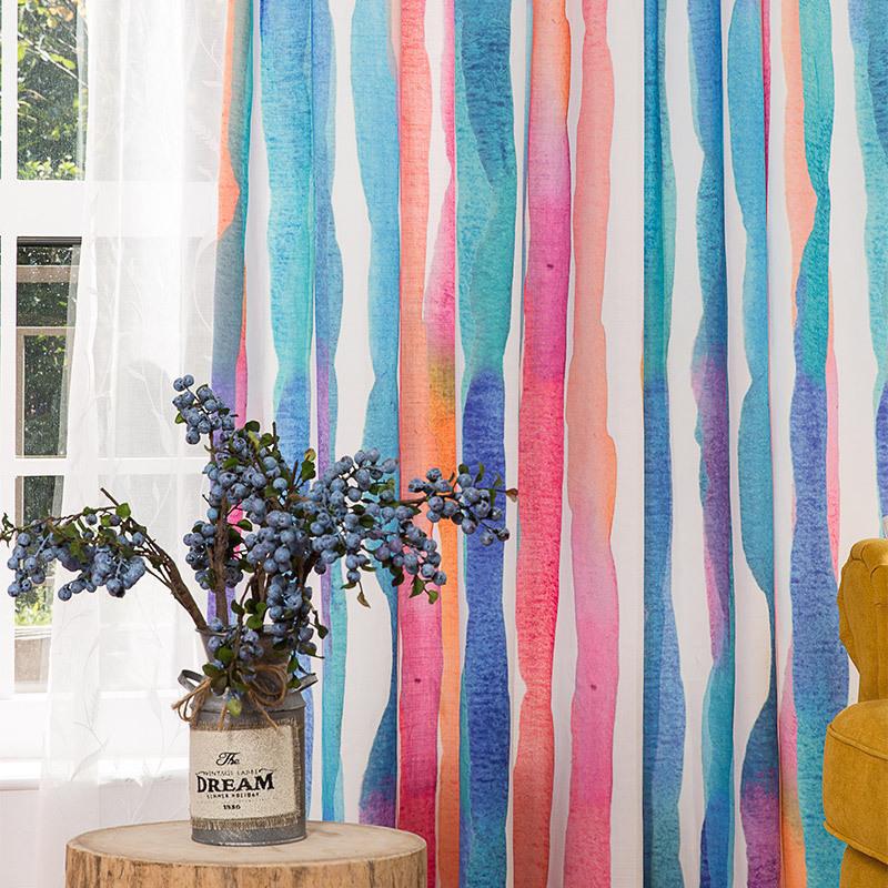 彩色条纹窗帘