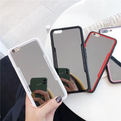 女生补妆镜子iphoneX手机壳情侣苹果7plus/8plus全包防摔软壳女款
