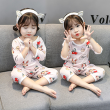 Children's cotton pajamas Summer Cherry Rabbit Boys and Girls Seven-cuff Suit Home Air-conditioning Suit
