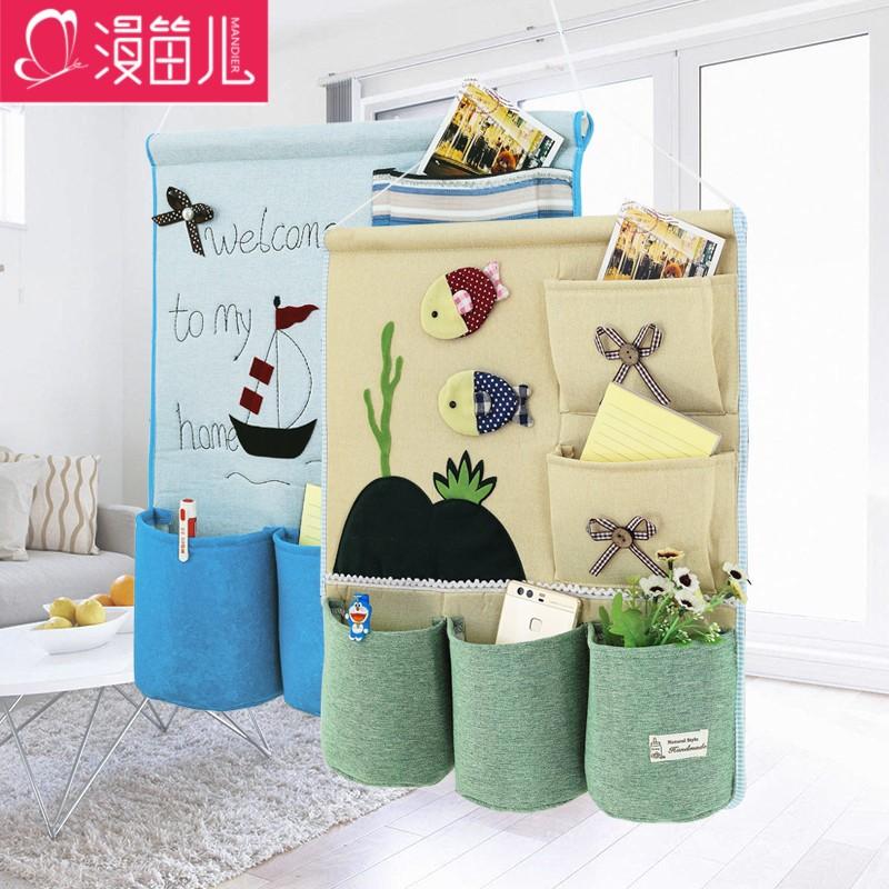 布艺挂袋收纳袋墙挂式简约创意多层宿舍门后衣柜衣橱储物整理袋子