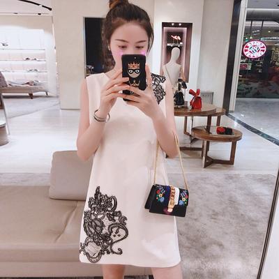 UPRAISE 2018新款优雅花朵撞色连衣裙无袖H型裙子舒适女装 A1L203