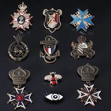 新款金属徽章复古英伦风皇冠别针彩色盾牌勋章牛仔外套背包胸针