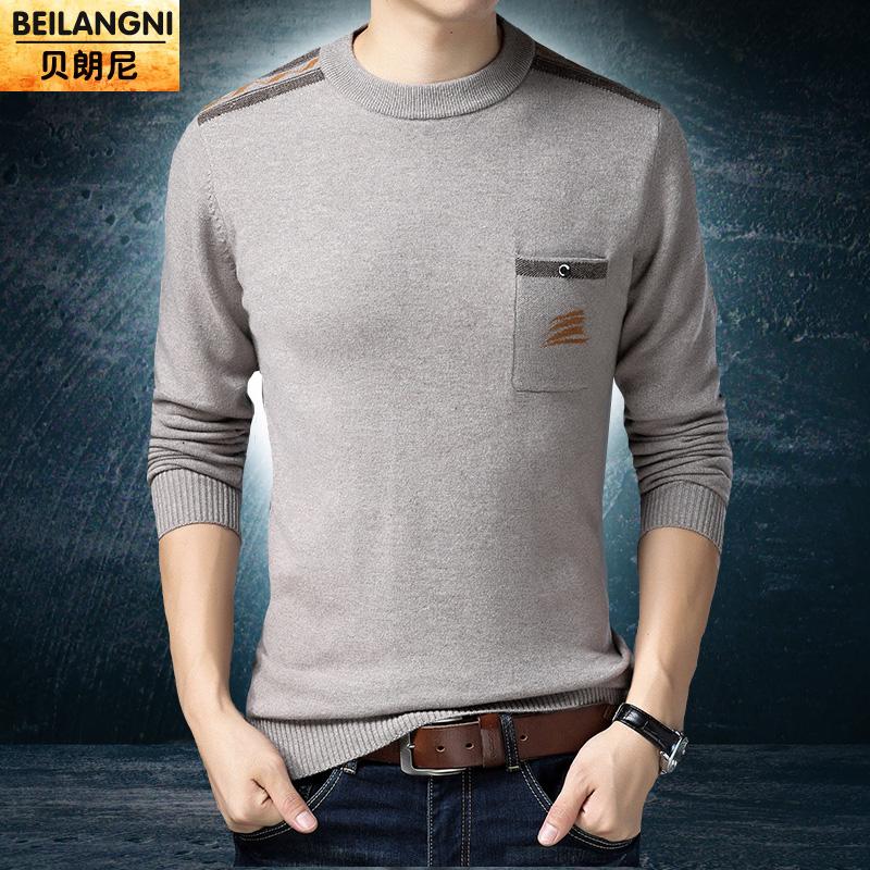 秋冬季加厚新款100%纯羊毛打底红色针织衫套头圆领保暖中青年男装