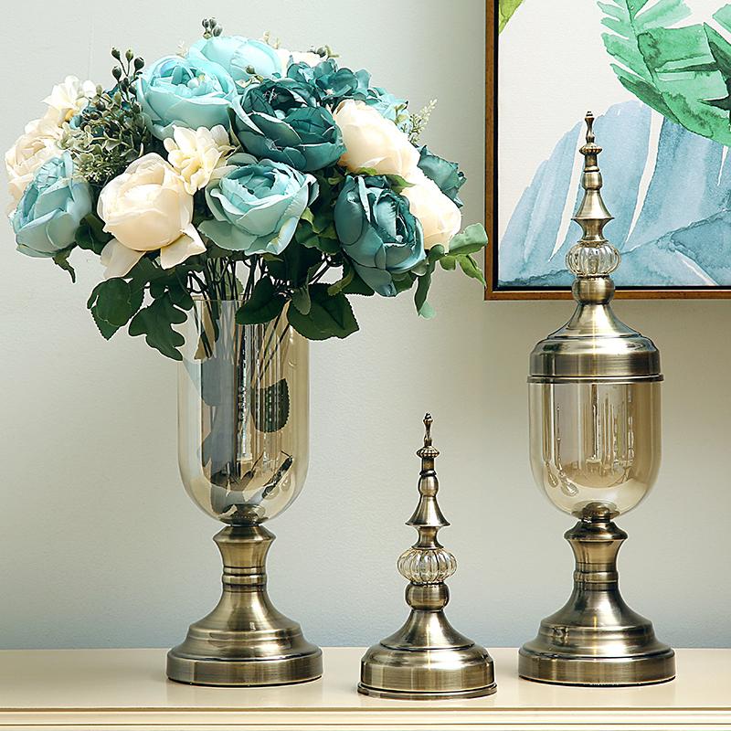 电视柜花瓶摆件插花欧式