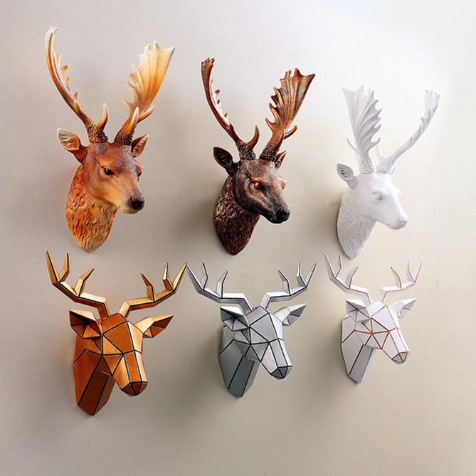 鹿头装饰客厅树脂