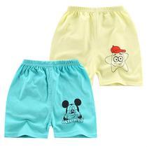 婴儿短裤卡通外出新款宝宝夏装男童超薄款人造棉开裆裤宝宝开档衩