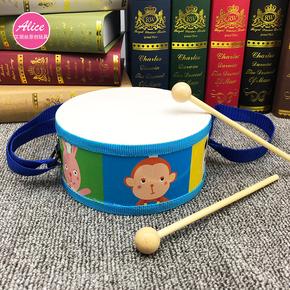 軍鼓寶寶腰鼓益智手敲擊玩具兒童打擊木制雙面敲鼓樂器2-3-6歲