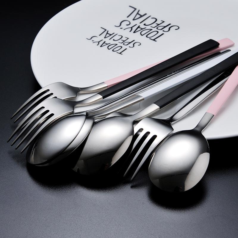 埃恩304不锈钢韩式勺子叉子实心长柄家用成人汤匙调羹餐具2支套装