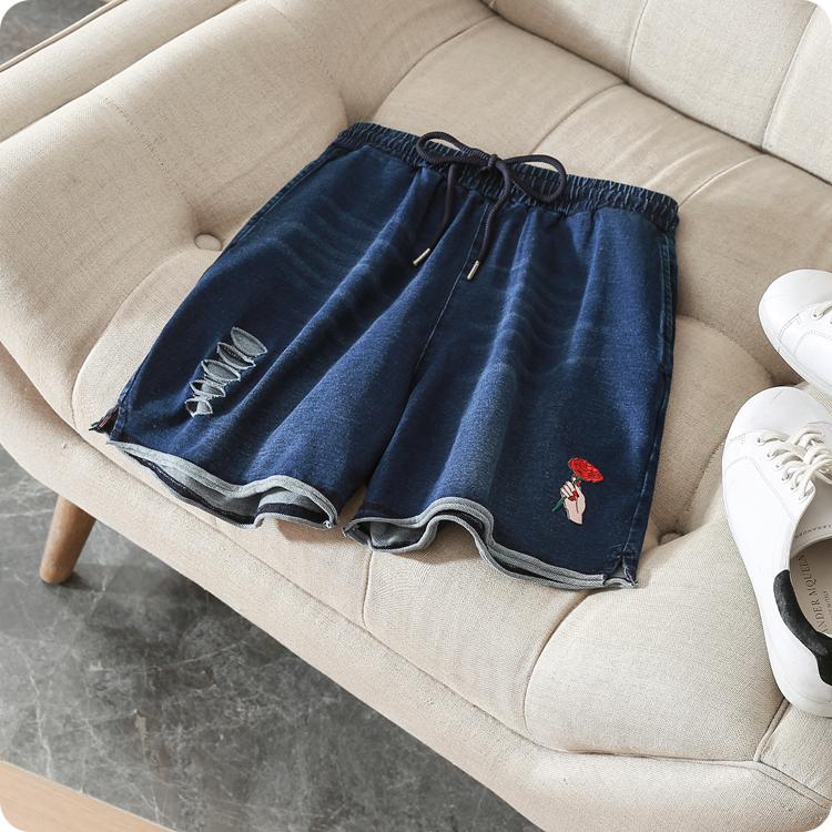 牛仔布高腰短裤