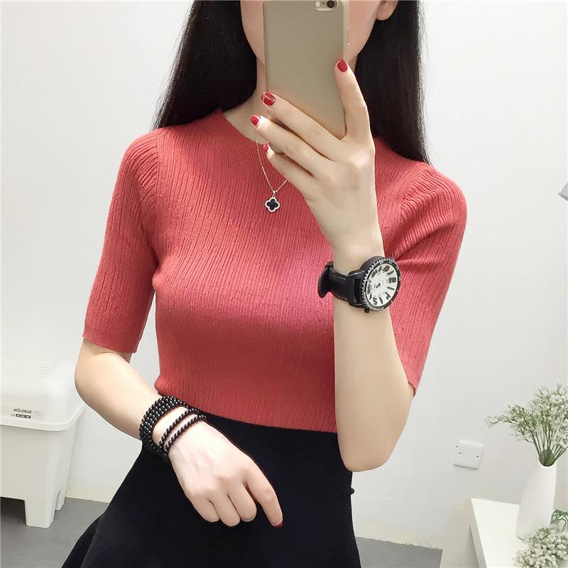 针织衫圆领五分袖打底衫半袖套头毛衣中袖修身T恤女短袖紧身上衣