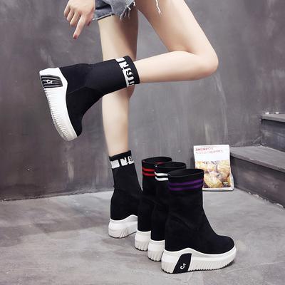 袜子鞋内增高袜靴弹力靴子女秋2018新款马丁靴针织厚底休闲短靴潮