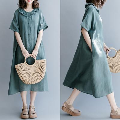 【清濯】彼得潘娃娃领开扣亚麻纯色连衣裙短袖休闲文艺-复古绿-