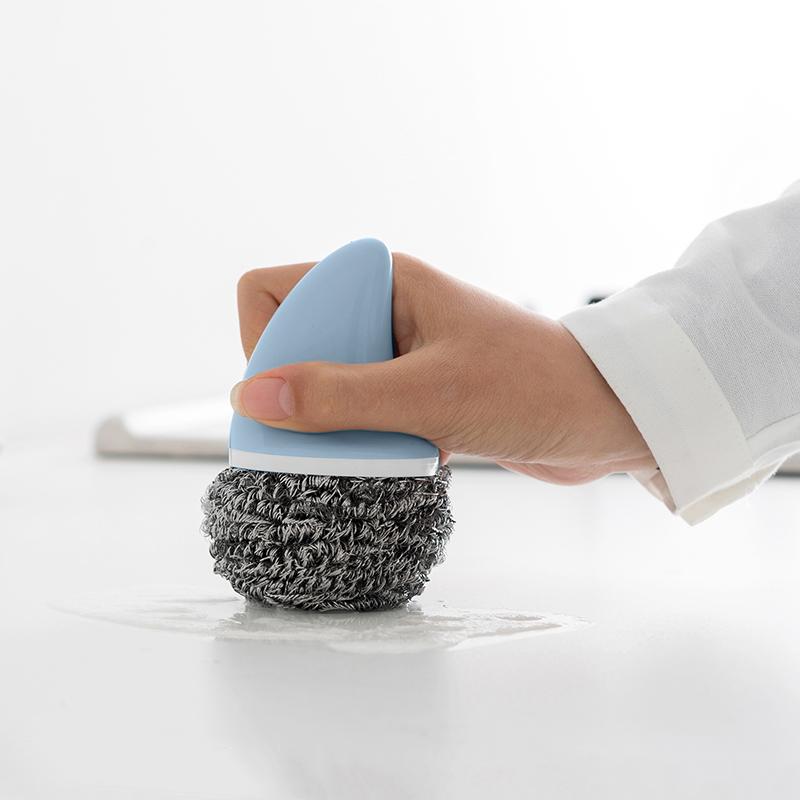 不生锈钢丝球不锈钢带柄家用洗碗锅刷神器3个装厨房去污清洁球