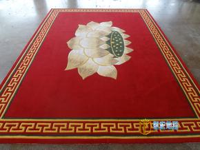 手工纯羊毛红色中式荷花莲花台寺庙佛堂接待室办公室地毯客厅书房
