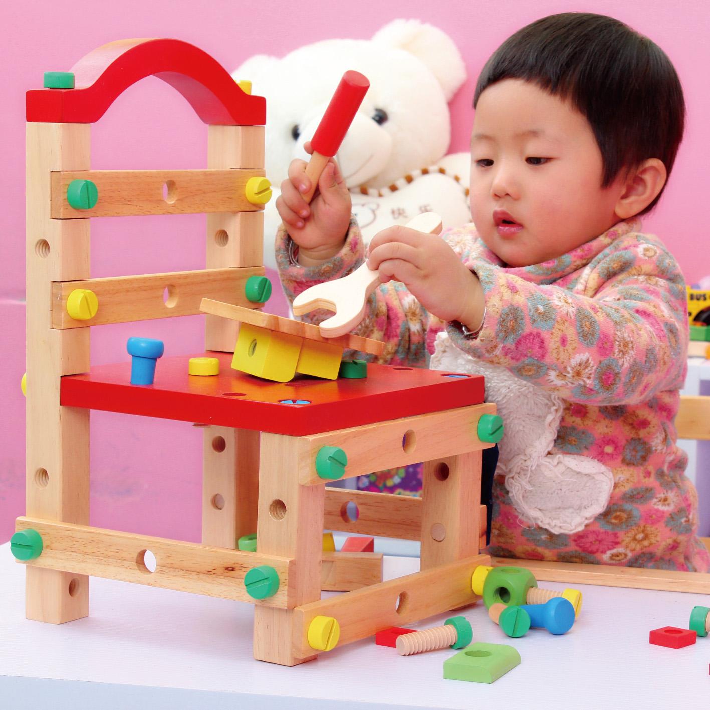 儿童早教木制拆装多功能工具台创意工作椅益智积木螺母玩具鲁班椅