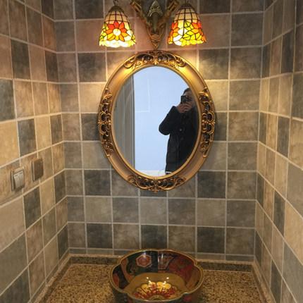 美式复古欧式椭圆浴室镜卫浴卫生洗手间厕所梳妆化妆壁挂装饰墙镜