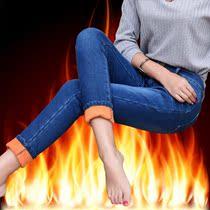 2018春夏新款韩版胖m爆款大码加绒牛仔裤女200加厚保暖高腰铅笔裤