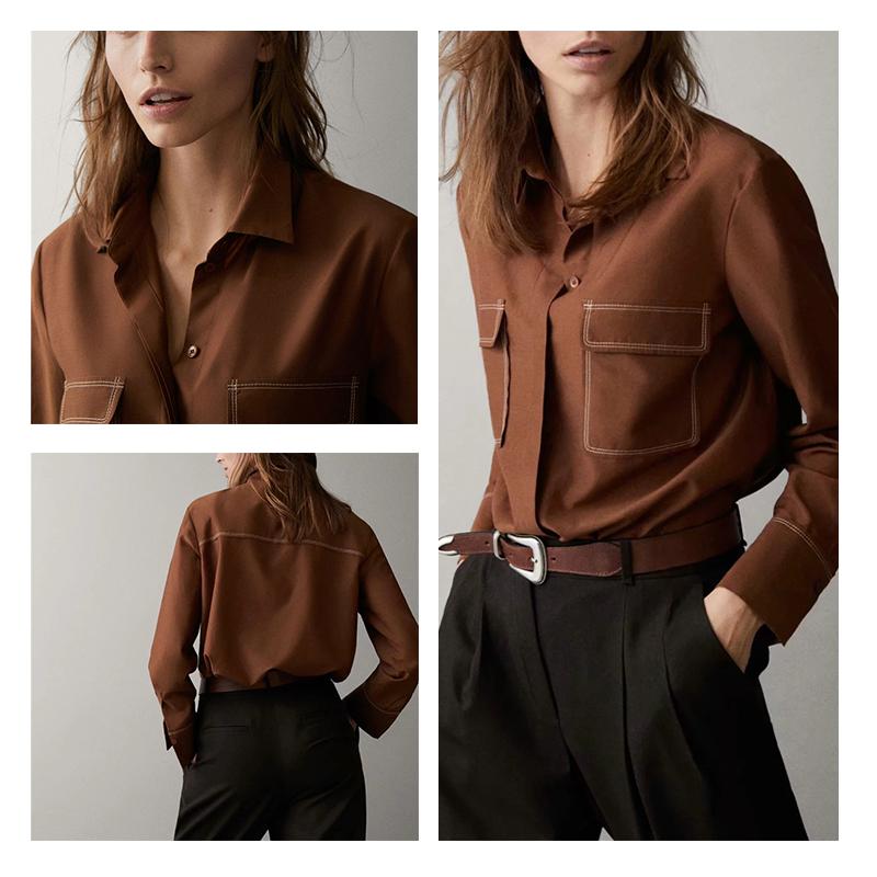 西班牙 MD女装 明线设计丝质/棉质长袖衬衫 M家衬衣 05140579745