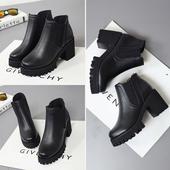 秋冬季新款粗跟单靴马丁靴女短靴棉靴英伦风圆头防水台高跟靴裸靴