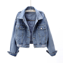 Spring and Autumn 2019 New Long Sleeve Denim Jacket with Diamond Set and Loose Korean BF Student Jacket