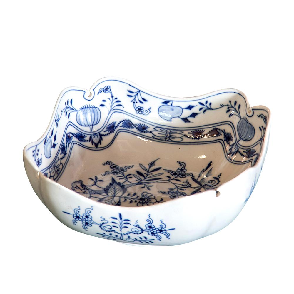 陶瓷大碗客厅装饰双面青花手绘梅森蓝洋葱欧式奢华装饰果篮果盘