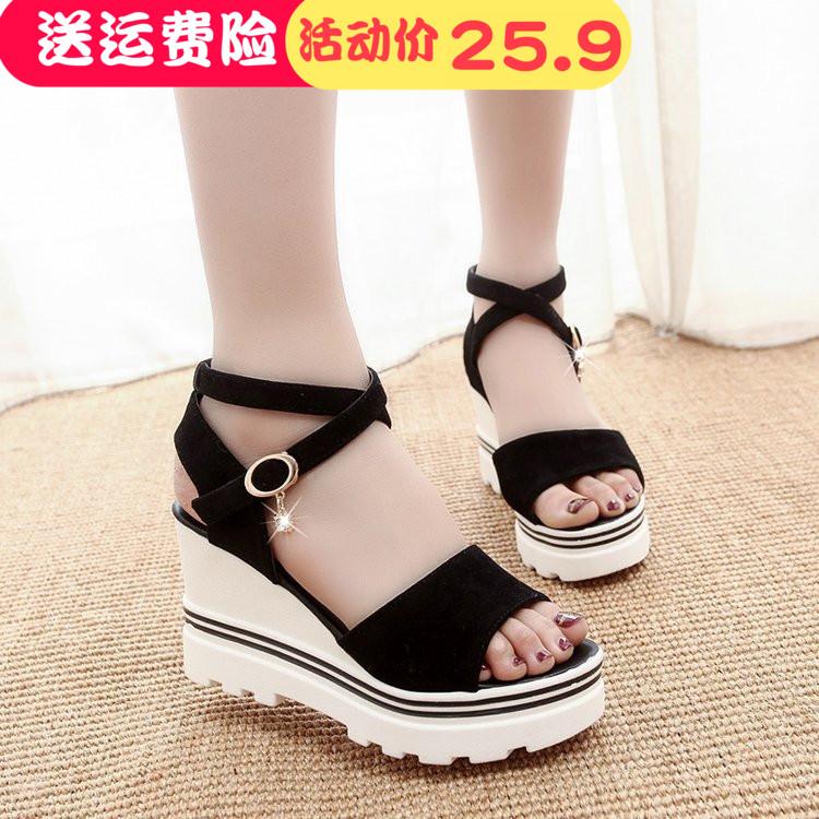 夏季坡跟高跟鞋厚底女凉鞋