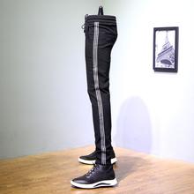 日系休闲裤男侧白条长裤男士修身小脚裤青少年三条杠百搭运动裤潮