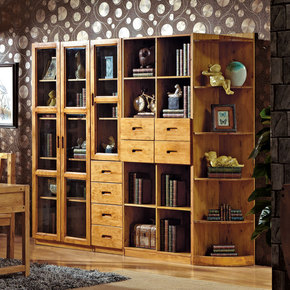 全实木书柜自由组合书橱书架带门柜子柏木书柜储物柜现代实木家具