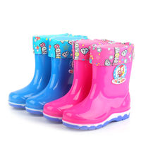 Four seasons thickening children's rain boots boys and girls baby rain boots slip plus velvet warm rubber shoes students in the tube shoes
