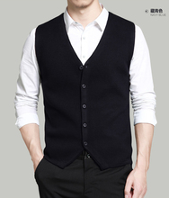 Men's knitted waistcoat, sleeveless shoulder sweater, vest, V-collar wool cardigan jacket, youth fitness horse clip in Spring and Autumn Period