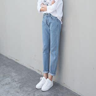 夏季原宿哈伦牛仔裤百搭浅色宽松裤子女学生韩版bfulzzang萝卜裤