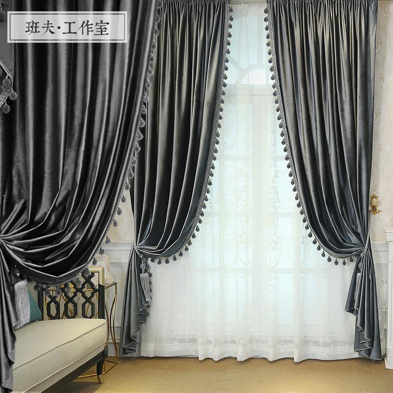 灰色窗簾客廳高檔