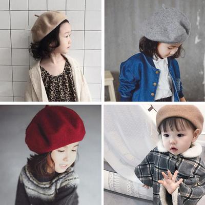 2017秋冬新款女童宝宝日韩风儿童羊毛呢帽子中小童贝雷帽单色