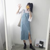 森女系牛仔背带裙2019春夏新款韩版显瘦中长款学生少女连衣裙子