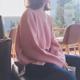 秋季网红原宿风圆领套头粉色慵懒毛衣女宽松长袖针织衫上衣外套女