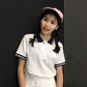 白色短袖t恤女夏季新款韩范学院风宽松套头polo衫小清新学生上衣