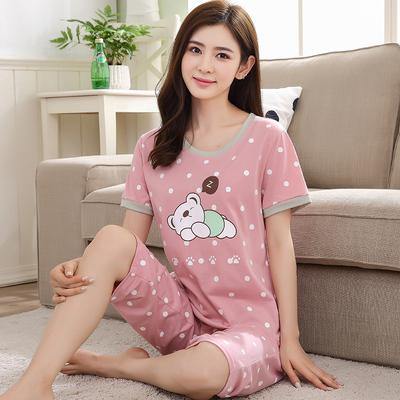 睡衣女夏季短袖七分裤纯棉卡通套装薄款女士可爱全棉加大码家居服