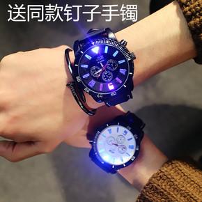 韩版潮牌个性大表盘夜光发光韩国原宿风潮流时尚男女学生情侣手表