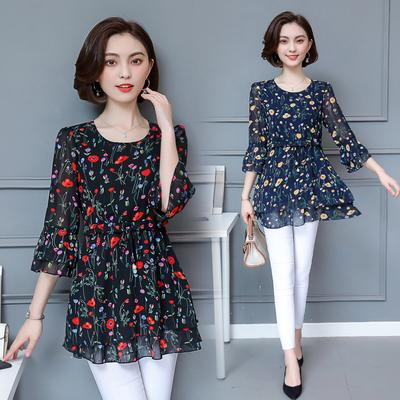 雪纺衫短袖女2018新款夏季韩版中袖百搭妈妈装上衣中长款裙摆小衫